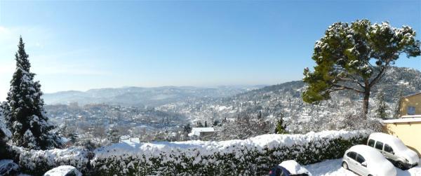 panorama neige et soleil