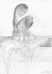 fausse couche / 01 2000 / crayon gris sur A4 quadrillé