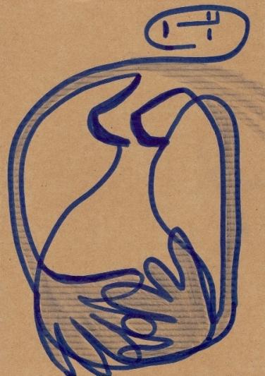 je suis et elle n'est plus / février 2011, marqueur sur carton, 20X14