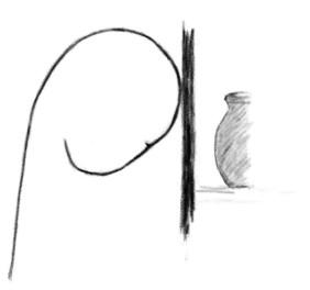 derrière la pierre / janvier 2012 / crayon gras / 14x20cm