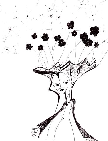 dessin-femme_bouquet